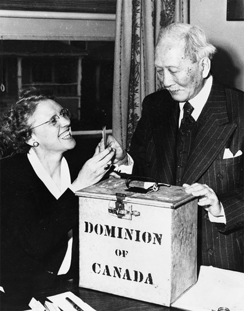 Black and white photo of an elderly man placing his ballot in a metal ballot box, while a female election worker stands beside him smiling