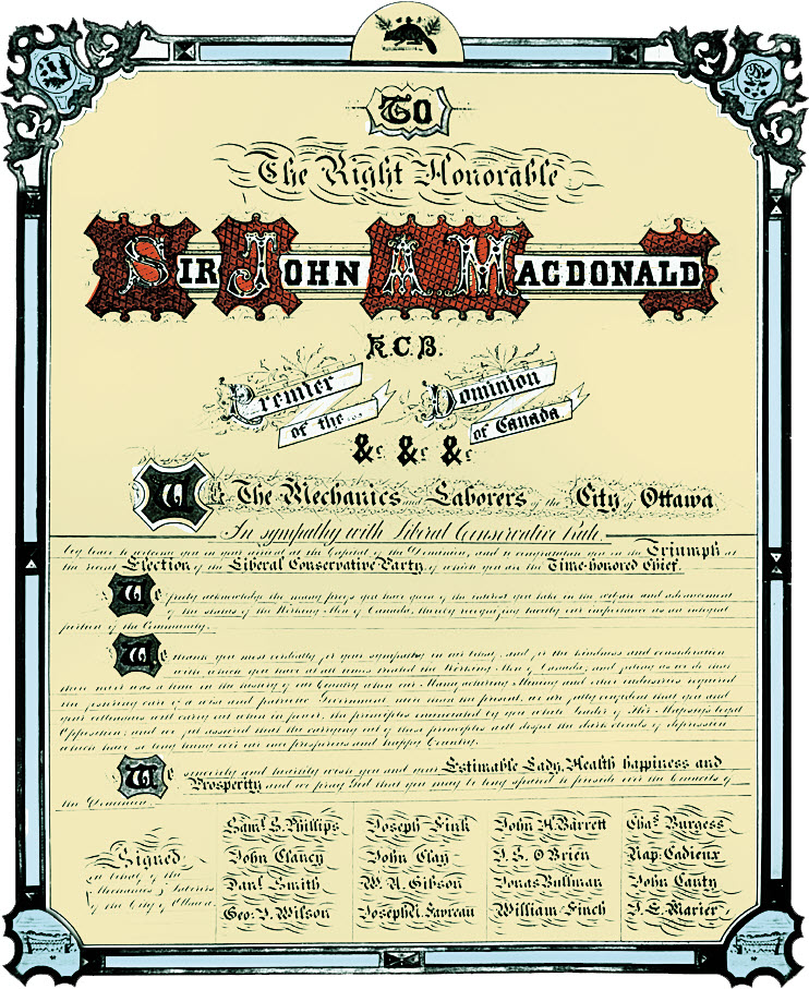 Image of a scroll presented to Sir John A. Macdonald in 1878 by the Mechanics and Labourers of Ottawa.
