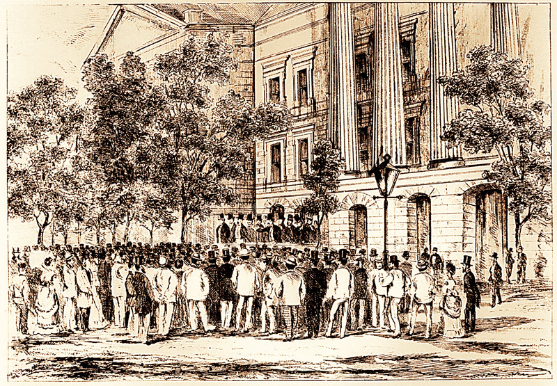 Sketch showing a large crowd of men gathered outside a brick building. A dozen or so men in top hats stand at the front of the crowd on a raised platform.