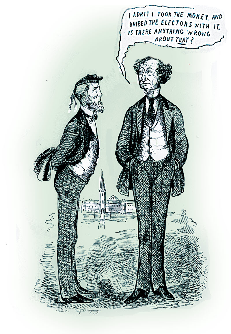 Newspaper caricature depicting Sir John A. Macdonald with a speech bubble above his head that reads 'I admit I took the money and bribed electors with it, is there anything wrong about that?'