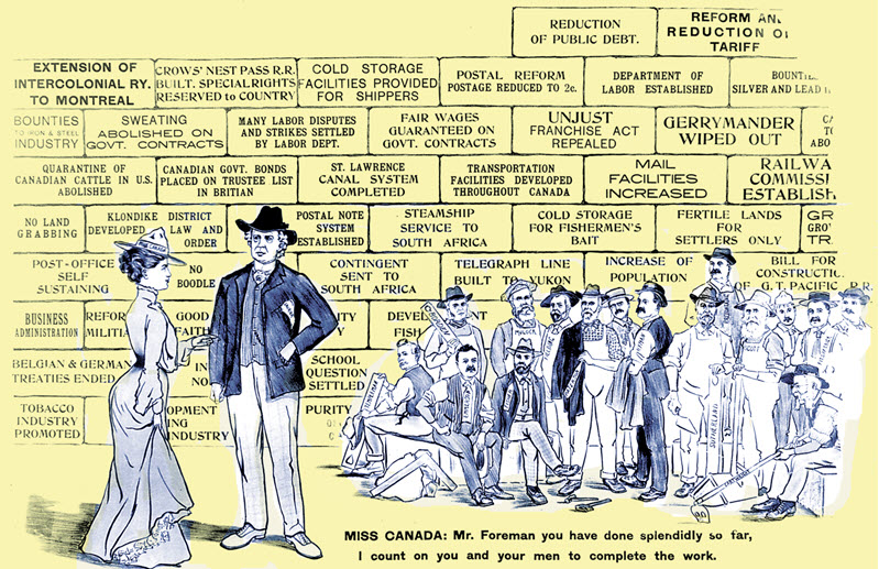 Election campaign poster depicting a wall of bricks with a different Liberal achievement written in each one. A crowd of people is illustrated in the bottom right and a man and woman in fine clothes appear in the forefront.