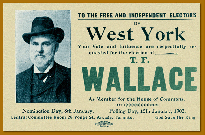A postcard featuring the photograph of a bearded man urging electors to nominate and vote for T.F. Wallace in a 1902 by-election in West York, Ontario.