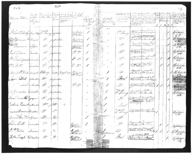 Handwritten record of names, qualifications, challenges and votes for the election of July 25, 1827, in Lower Canada, showing that vote of Agnes Wilson was not challenged