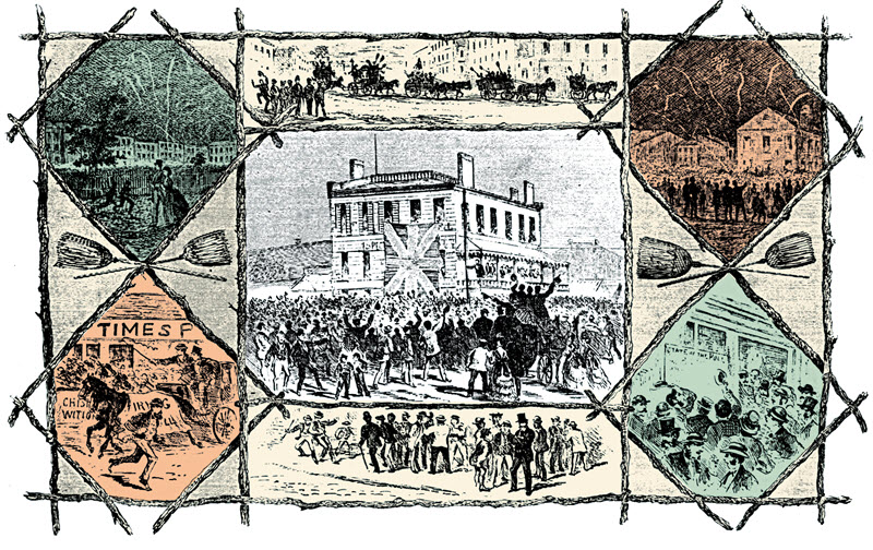 Lithograph produced by the Canadian Illustrated News depicting one of the last open-ballot elections, in Hamilton, Ontario, 1872. Contains series of images from the election, including torchlight parade to attract voters and candidates greeting supporters.