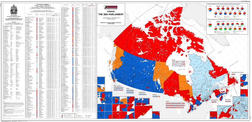 Map Of Canada Red.Map Of Canada The 38th Parliament 2004 Elections Canada Online